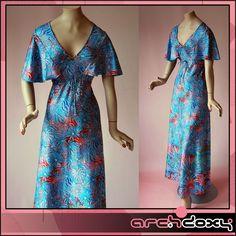 Vintage 1970s Angel Sleeve Empire Flared Star Burst Blue & Pink Maxi Dress #boho #vintage  http://www.ebay.co.uk/itm/Vintage-1970s-Angel-Sleeve-Empire-Flared-Star-Burst-Blue-Pink-Maxi-Dress-UK12-/282004976298