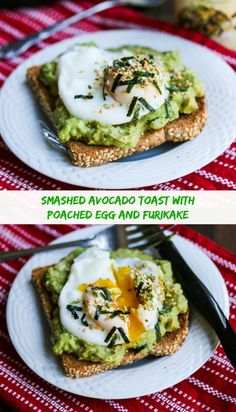 Smashed Avocado Miso Toast with Poached Egg and Furikake ~ http://jeanetteshealthyliving.com
