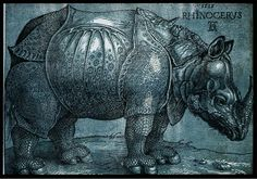 Rhinoceros by Albrecht Durer. This is a woodcut where you can see more sharply defined marks and lines.