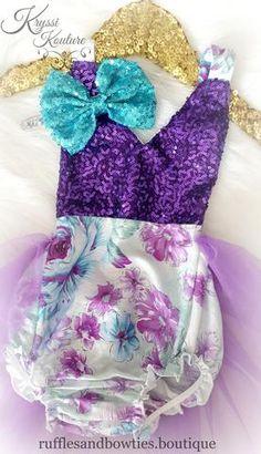 Floral Tutu Romper - Vintage Floral Romper - Smash Cake - 1st Birthday - Second Birthday - Princess - Sparkle - Purple sparkle - Aqua & Mauve Floral