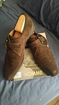Chocolate brown plain toe monk strap slip-on shoes