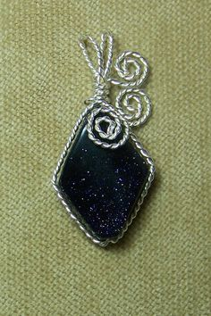 Deep Blue GOLDSTONE Gemstone Sterling Silver Plate Wire Wrap Necklace Pendant - DeniseDesigns on Etsy
