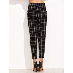 SheIn(sheinside) Black Grid Print Drawstring Pants (98 SEK) ❤ liked on Polyvore featuring pants, loose fit pants, plaid trousers, stretch pants, loose pants and stretch crop pants