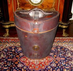 Antique Vintage Victorian Double Top Hat Box English Leather Case w Satin Lining | eBay