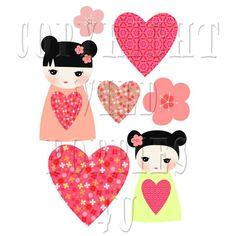 Sweet kokeshi doll, sakura flowers, valentine, hearts - digital clip art set - design elements - digital collage sheet - scrapbooking         February 23, 2015 at 03:12PM