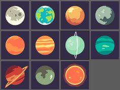 Flat design planets.