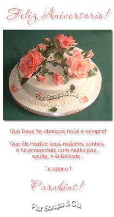 Feliz aniversário Bolo com rosas Parabéns Happy Birthday Images, Anniversary, Birthday Cake, Desserts, Msgm, Gifs, Facebook, Memes, Crochet