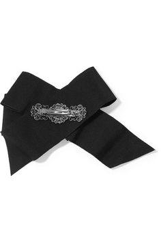 Dolce & Gabbana - Swarovski Crystal-embellished Grosgrain Hair Clip - Black - one size