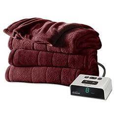 Sunbeam Microplush Heated Blanket with ComfortTech Controller, Queen, Mushroom
