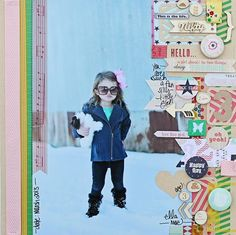 Meghan Klauer for Come on get Crafty- 12x10 page photo with strips and small embellishments