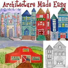 This might help design house quilt blocks: architecture art lessons use  geometric shape templates, then students add details to make buildings.