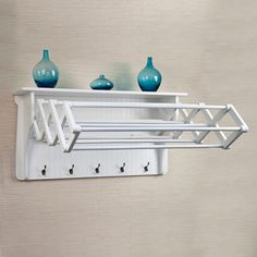 Accordion Drying Rack is perfect for saving space in your laundry room or bedroom. When it is needed it can easily extend to provide 10 hanging racks to hang wet clothes, towels or delicates. Large hooks along the bottom hold scarves, socks, and more. Laundry Room Organization, Laundry Room Design, Laundry Closet Makeover, Apartment Decoration, Clothes Drying Racks, Wall Mounted Drying Rack, Clothes Dryer, Tiny House Bathroom, Washroom
