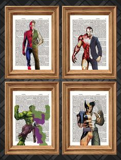 Marvel Super Heroes Four Print Deal - Dictionary Art Print Up-cycled Antique Book Art Page, Wall Decor, Wall Art , Mixed Media Collage Super Hero shirts, Gadgets Marvel Wall Art, Marvel Room, Comic Books Art, Comic Art, Book Art, Marvel Heroes, Marvel Avengers, Marvel Characters, Superhero Room