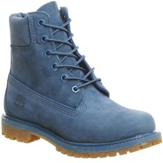 Timberland Premium 6 Boots ($245) ❤ liked on Polyvore featuring shoes, boots, ankle booties, ankle boots, blue ink nubuck, women, bootie boots, blue boots, lace up ankle boots and blue booties