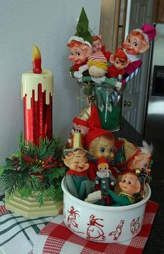 Kitchen Elves: Elves hangin' out in an antique glass spooner (rear) & a Dutch-kid milk glass bowl. An electric candle adds a cheery touch. Merry Christmas, Vintage Christmas Ornaments, Christmas Love, Vintage Holiday, Winter Christmas, Christmas Crafts, Christmas Decorations, Christmas Displays, Christmas Mantles