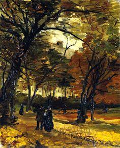 ART & ARTISTS: Vincent van Gogh - Trees part1 1886 In the Bois de Boulogne oil on canvas 46.4 x 36.8 cm