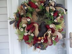 Primitive~ Rooster~ Wreath~Cloth Rooster~Flowers~Mesh~ Burlap~ Bow~Eggs~Greenery