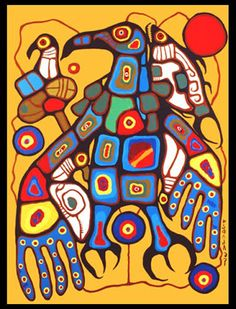 "Norval Morriseau Man Changing into Thunderbird; Norval Morrisseau, CM, also known as Copper Thunderbird, was an Aboriginal (Ojibway) Canadian artist. Known as the ""Picasso of the North"", Morrisseau created works depicting the legends of his people Native Canadian, Canadian Artists, American Indian Art, Native American Art, Art Indien, Kunst Der Aborigines, Woodland Art, Inuit Art, Inspiration Art"