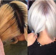 Terra Shapiro ( of Juan A Salon, Sherman Oaks, California, a blonde and color correction specialist, had a challenge. My client had previously dyed brown hair who tried going lighter at another . Ice Blonde Hair, Icy Blonde, White Blonde, Platinum Blonde Hair, Blonde Color, Blonde Balayage, White Hair, Yellow Blonde Hair, Bleach Blonde Hair
