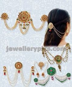 Hair accessories and jewelry - Latest Jewellery Designs Indian Wedding Jewelry, Bridal Jewelry, Head Jewelry, Hair Jewellery, Kerala Jewellery, India Jewelry, Jewellery Shops, Ethnic Jewelry, Gold Hair Accessories