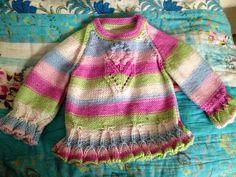 Hand knitted flower jumper 0-3mths girl on Etsy, £11.99