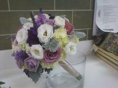Wedding bouquet purple white dusty miller