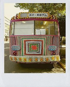 the crochet bus from the front