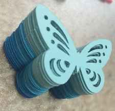 25x Engraving Butterflies BLUE punches cardstock EMBLISHMENTS Craft NEW