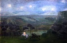 Charles Doudelet. 1861-1938. Paysage avec neuf Lunes. Landscape with New Moons. SD.  Ixelles Musée des Beaux Arts.