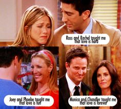 I love this! I grew up watching friends and still do! Even though whoever made this didn't pay very good attention Bc Phoebe and Joey were never together
