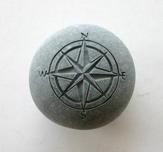 Compass Engraved Stone Nautical Travel Rock Pocket Stone