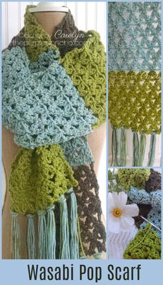 Wasabi Pop Scarf – Free Crochet Pattern – The Purple Poncho! A delicate lace pattern with the warmth of a super scarf! Looks great in color blocks or solids.