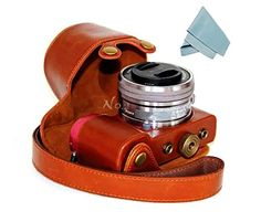 No2 Warehouse Protective PU Leather Camera Case Bag For Sony Alpha A5000 A5100 NEX3N 1650mm lens brown a Piece of Clean Cloth ** Click on the image for additional details.