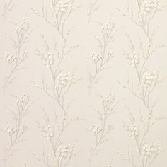 Pussy Willow Dove Grey Floral Curtain Fabric
