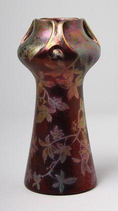 clement massier ceramics | EUROPEAN CERAMICS, Clement Massier, Leaf and Berry vase