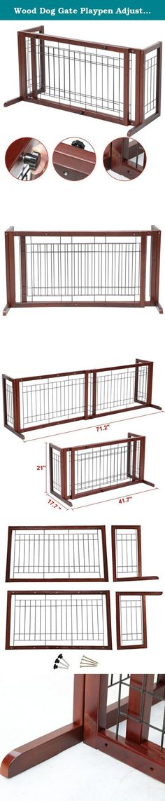 Wood Dog Gate Playpen Adjustable Indoor Solid Construction Pet Fence Free Stand. 100% brand new adjustable wood fence. A great way to restrict the movement of small to medium dogs. Such as Beagles, Bulldogs, miniature poodles and other dogs of similar sizes. Slide-out design, expands from 38 to 71 inch to fit doorways, hallways etc. Side panel supports that stands freely and securely in any open areas. Sturdy and durable fir wood construction with high quality steel wire. Natural glossy...
