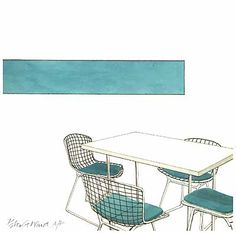 Retro Furniture Designs - Harry Bertoia; Watercolour by Peter G Ward Des. RCA, 1963. One of a set of 8 prints available from ARC Prints London. http://www.arcprints.com/prints/arc-modern/harry-bertoia_CXPW04