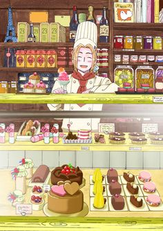 France Hetalia   -- French cuisine is famous for its rich tastes and subtle nuances. It consists of a long and rich history of cooking traditions and practices from France.