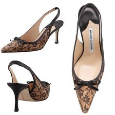 "Manolo Blahnik Olaschi Lace and Cork Slingback Description: Cork with lace overlay and leather trim upper. Pointed toe. Bow detail on vamp. Slingback strap with stretch inset. 3"" stacked heel. Made in Italy. Size: EU 37.5 (US 7.5) Color: Nude and black  Condition: slight wear at sole Retail: 765 Manolo Blahnik Shoes"