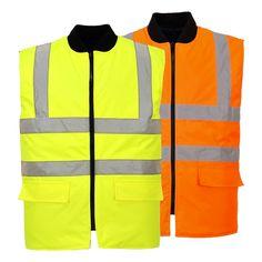 Boy Men Hi Viz Vis Reversible Fleece Jacket High Visibility Body Warmer Vest LOT