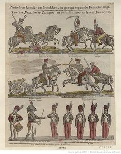 Pruischen Lancier en Cosakken, in gevegt tegen de Fransche wagt. Lancier prussien et Cosaques en bataille contre la Garde Française : [estampe]   Gallica