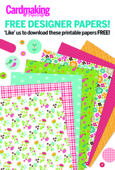 Head on over to our Facebook page and 'like' us to get these designer papers and matching toppers https://www.facebook.com/cardmakingmag