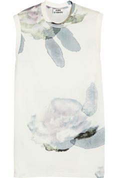 Acne|Zone printed cotton top|NET-A-PORTER.COM