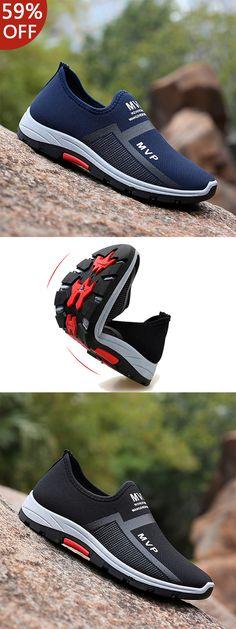quality design 80dc4 f2f16 Men Mesh Breathable Outdoor Slip Resistant Slip On Sneakers