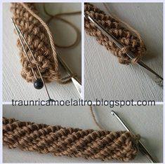 cordoncino tubolare/ tubular crochet without beads Crochet Cord, Tunisian Crochet, Diy Crochet, Crochet Crafts, Crochet Projects, Crochet Instructions, Crochet Diagram, Crochet Motif, Crochet Stitches Patterns
