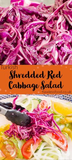 Kebabs are not complete without a delicious shredded red cabbage with salad on the side.  This simple recipe shows you how easy it is to create shredded red cabbage just like you would get from a Turkish kebab takeaway shop.  Try with Lamb Shish, Chicken, or Donner Kebab.  Also makes a great Vegan and Vegetarian side dish for many Greek and Mediterranean dishes. Best Salad Recipes, Kebab Recipes, Vegan Recipes Easy, Real Food Recipes, Vegetarian Recipes, Cooking Recipes, Amazing Recipes, Delicious Recipes, Skinny Recipes