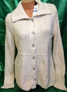 Calvin Klein Jeans Women XL Cardigan Sweater Chunky Cable Knit Collar Stone NWT