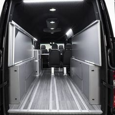 The bed folds up out of the way to open up the cargo area
