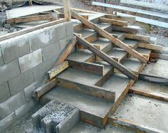 Ny side 1 Yard Drainage, Outdoor Steps, Concrete Steps, Diy Home Decor, Pergola, Stairs, Backyard, Construction, Indoor