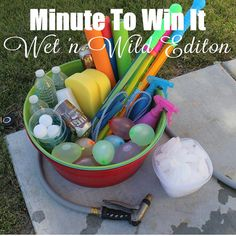 Minute To Win It Wet 'n Wild Edition Printable - Family Game Night, Classroom Party Fun family games outdoor Wet N Wild, Group Games, Family Games, Family Family, Family Reunions, Family Outdoor Games, Outdoor Games For Kids, Outdoor Toys, Summer Games